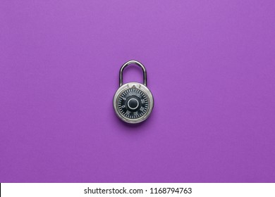 Dial Metal Combo Lock Front View locked on purple background used
