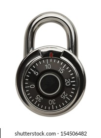 Dial Metal Combo Lock Front View, Isolated on White Background.