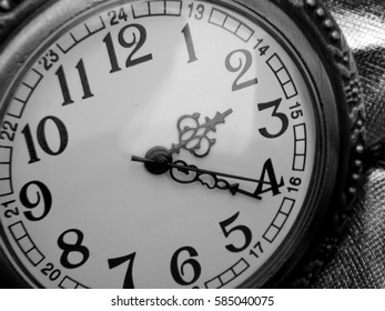 The dial on a black and white background