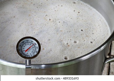Dial Thermometer in Beer Mash