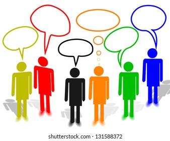 dialog many people text box colors social media team