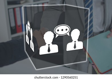 Dialogue concept illustrated by a picture on background