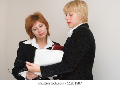 Dialogue of two business women. Emotions