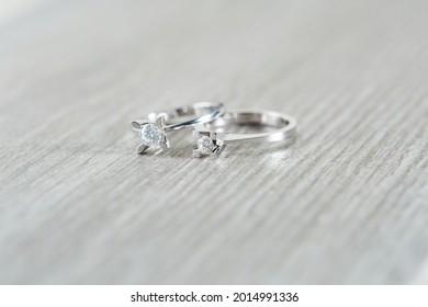 Diamon jewelry diamond rings on background