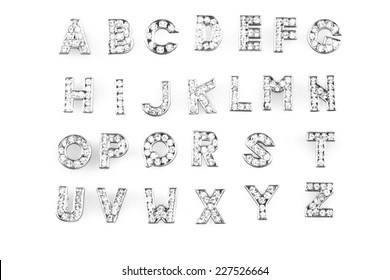 diamond alphabet set isolated on the white background