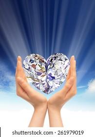 Diamond between hands