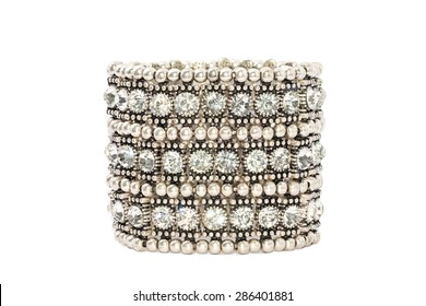 Diamond Bracelet Isolated on white background. Luxury Silver Armlet Jewelry Crystal