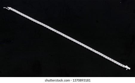 diamond bracelets on black background