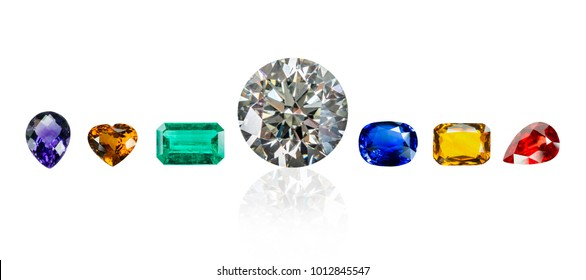 diamond and Bright gemsisolated on a white background