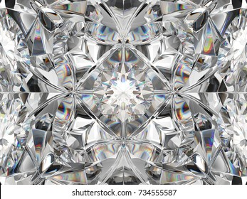Diamond closeup and kaleidoscope pattern. top view of round gemstone 3d render, 3d illustration