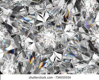 diamond closeup pattern and kaleidoscope effect. top view of round gemstone 3d render, 3d illustration