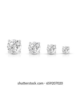 diamond earrings on white background,group,step size