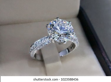 Diamond engagement ring isolated in box.