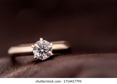 Diamond Engagement Ring on Leather