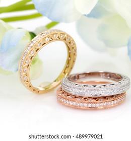 diamond eternity ring flower background