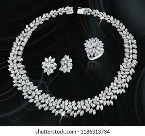 Diamond expensive necklace black background
