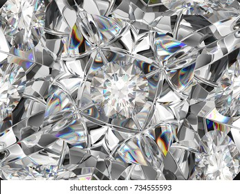 diamond extreme closeup and kaleidoscope effect. top view of round gemstone 3d render, 3d illustration