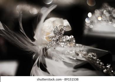 Diamond and Flower Wedding Head Piece
