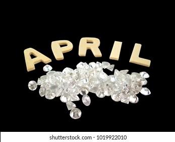 Diamond gemstone birthstone april isolated on black background