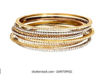 diamond and gold bangle stack