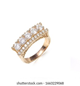 diamond gold ring on a white background
