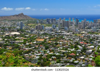 Diamond Head in the distance with city in the foreground