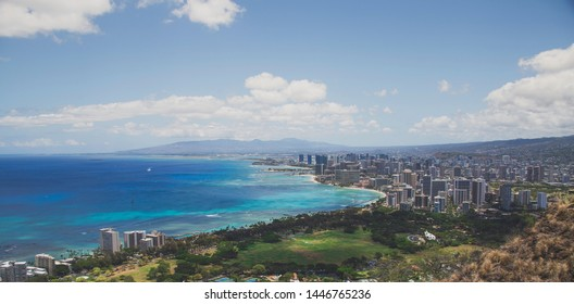 Diamond Head Hawaii View Over City Honolulu Hawaii Mountains Waikiki Beach