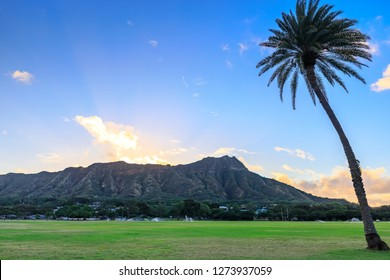 Diamond Head State Monument at sunrise, Oahu, Hawaii - panorama image