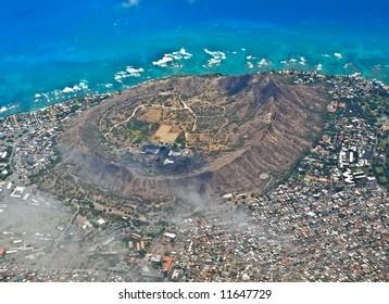 Diamond Head in Waikiki from above