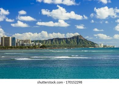 Diamond Head and Waikiki on the south shore of Oahu, Hawaii