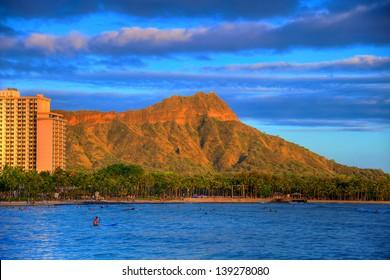 Diamond Head, Waikiki, at sunset