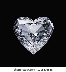 Diamond heart isolated on black