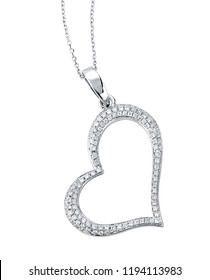 Diamond heart necklace isolated