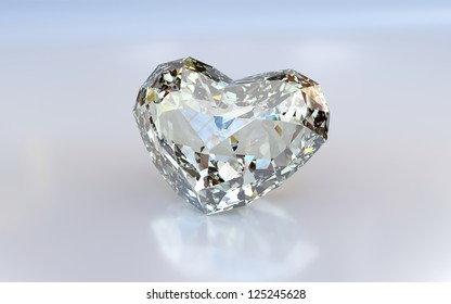 Diamond heart on white background