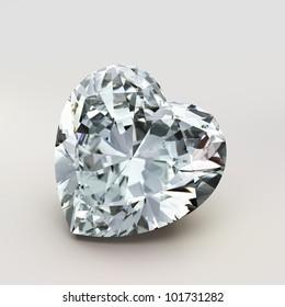 diamond heart shape isolated on white background - 3d render