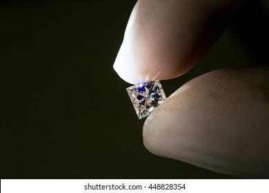 Diamond held in hand