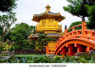 Diamond Hill, Kowloon, Hong Kong - 4 December 2018. Golden Pavilion of Absolute Perfection at Nan Lian Garden.