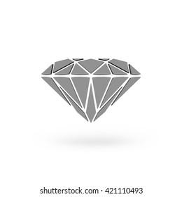Diamond Icon JPEG. Isolated white background. 3D rendering.