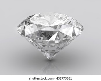 Diamond isolated on white background with light reflection, 3d illustration.