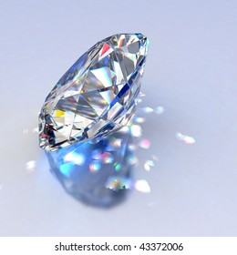 Diamond jewel with reflections on blue background