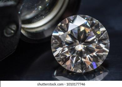 Diamond with jewelry loupe