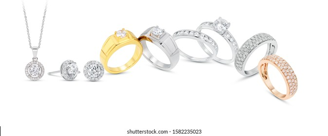 diamond  jewelry  ring ,earrings and pendant grouping  on white background