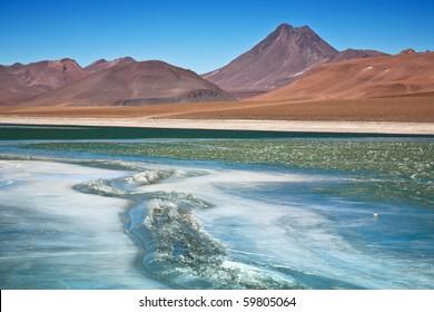 Diamond lagoon in Atacama desert, Chile, focus on the cracked ice