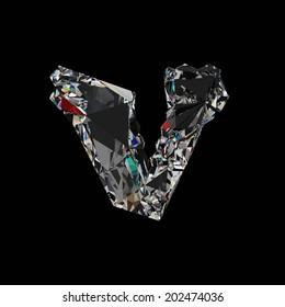 Diamond Letter V. Diamond font isolated on black background.