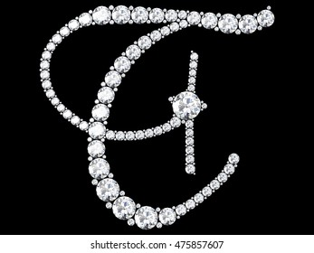 diamond letters with gemstones isolated on black (high resolution 3D image)