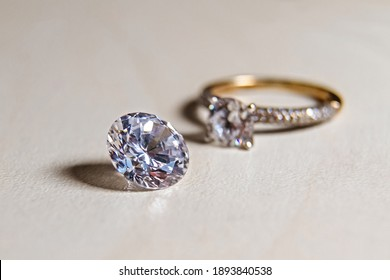 diamond luxury ring close up.diamond stones appraiser. jewelry quality check.manufacture of precious stones. inspection of artificial diamond.wedding symbol. a gift to your beloved woman for a holiday
