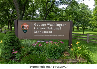 Diamond, MO / USA - July 6th, 2019: Entrance sign to George Washington Carver National Monument welcomes guests to the park.