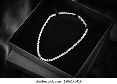 diamond necklace in box