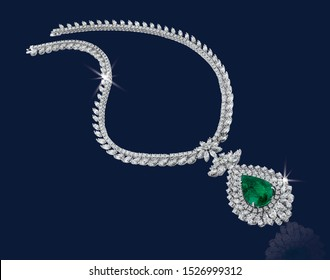 Diamond necklace with large emerald on dark blue background