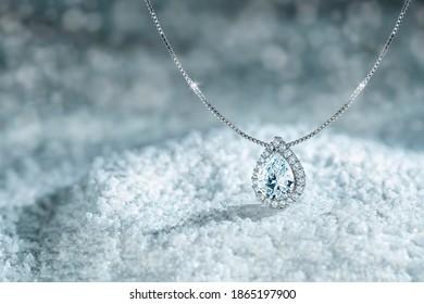 Diamond necklace on the snow
